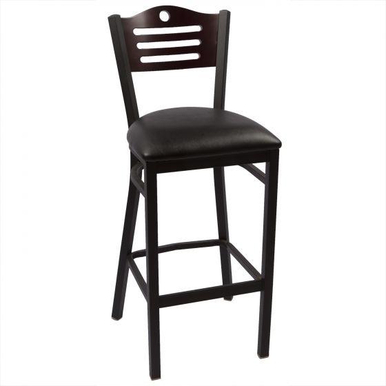 Hudson Chair - Mahogany, Black Vinyl Seat