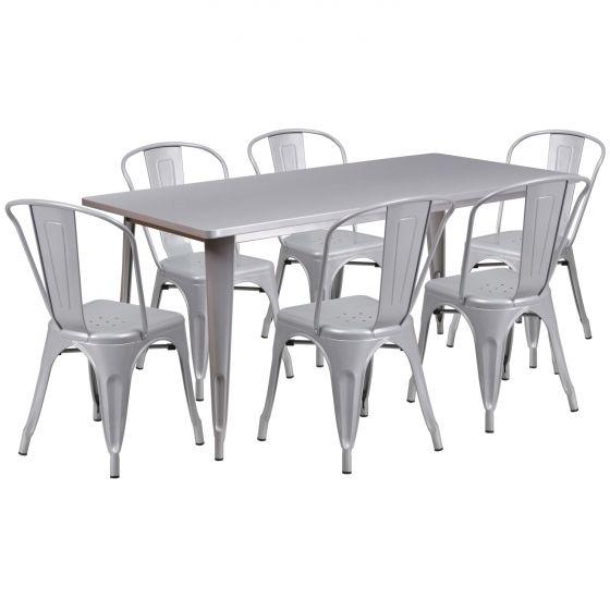 "32"" x 63"" Rectangular Metal Dining Table Set - Four Chairs"
