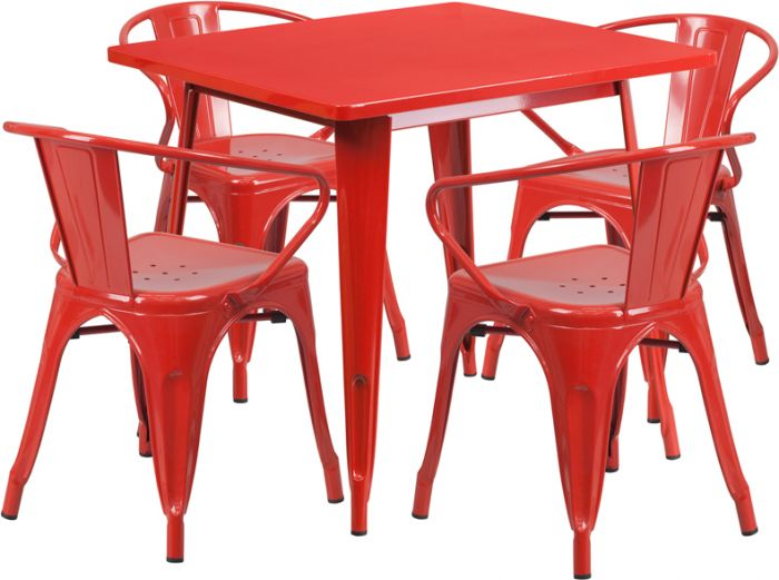 """32"""" Square Metal Dining Table Set"""