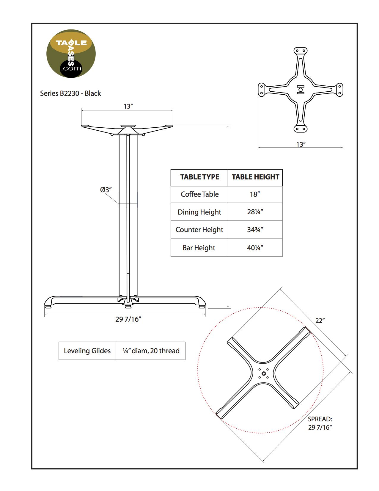 B2230 Black Table Base - Specifications