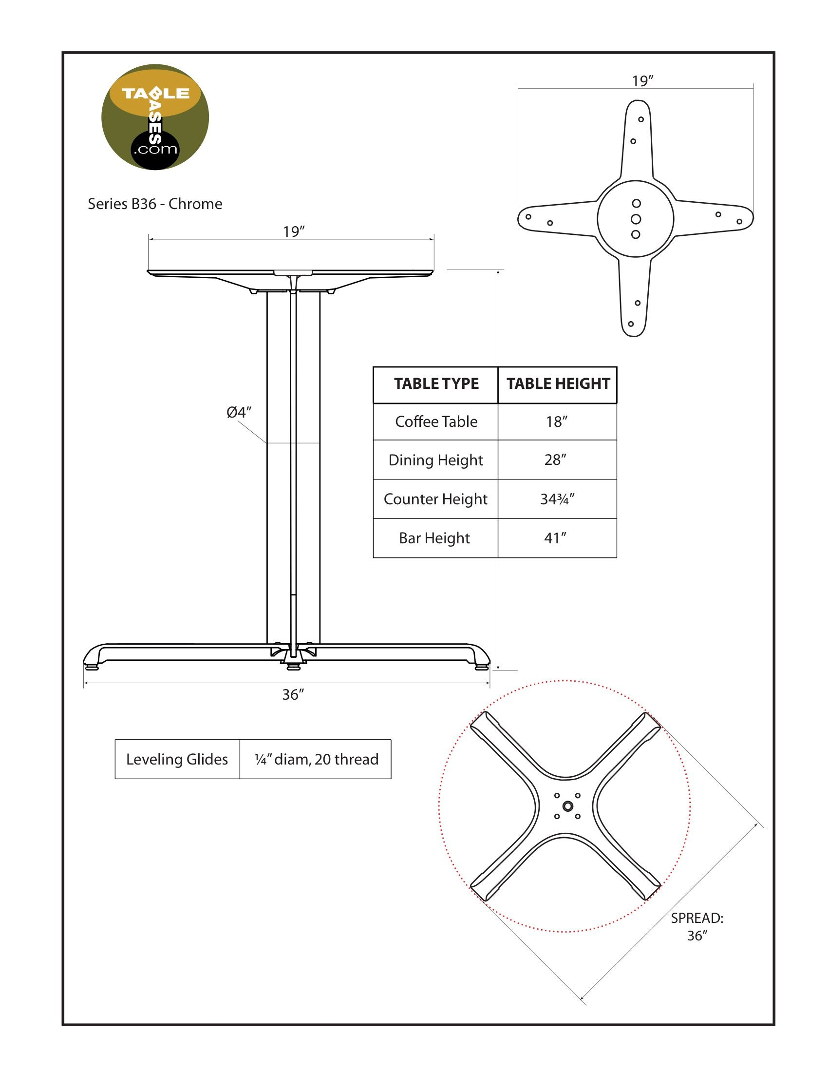 B36 Chrome Table Base - Specifications