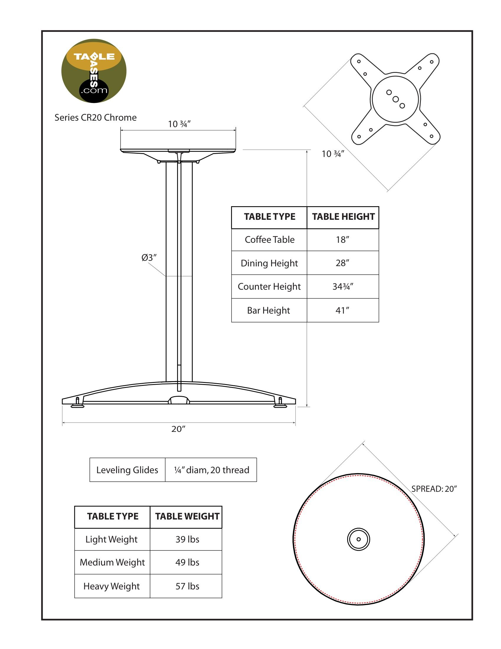 CR20 Chrome Table Base - Specifications