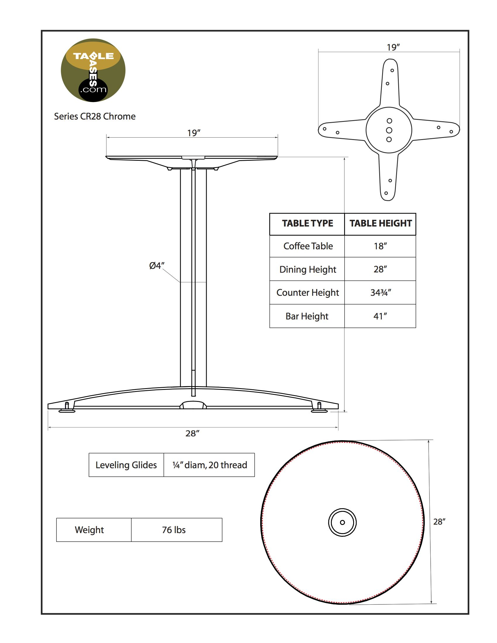 CR28 Chrome Table Base - Specifications
