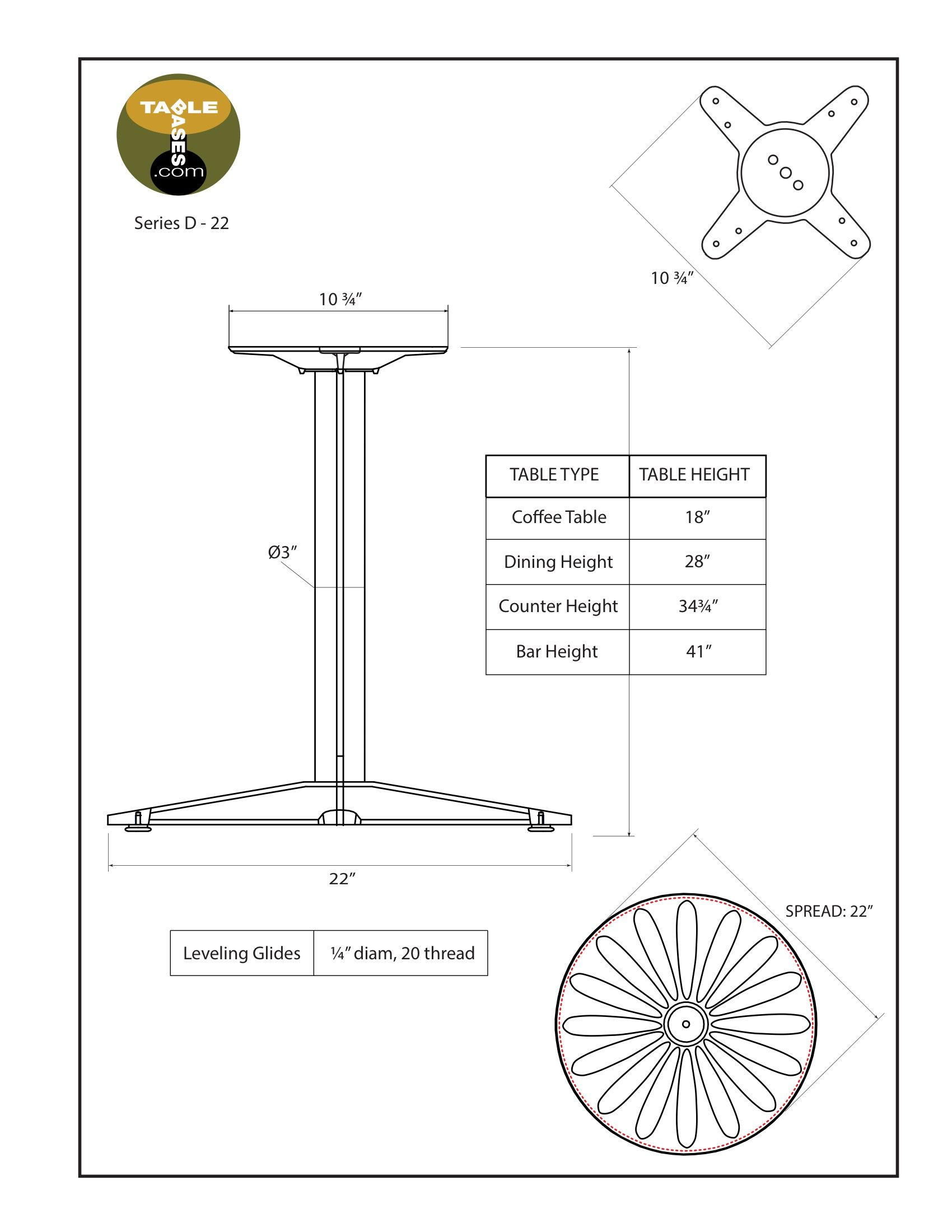 D22 Black Table Base - Specifications