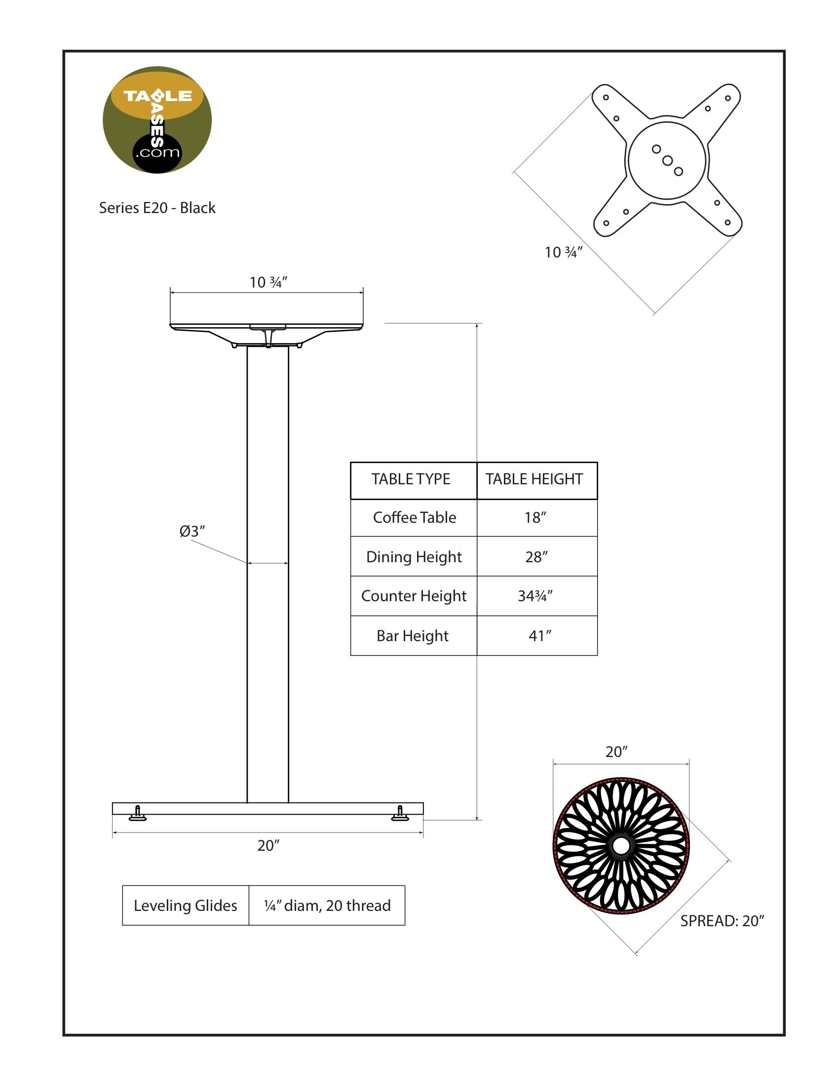 E20 Black Table Base - Specifications