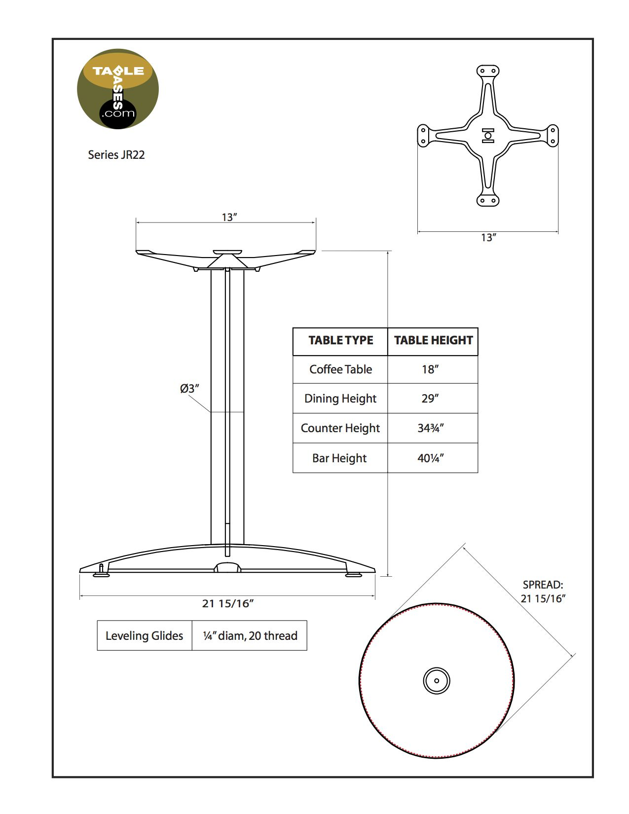 JR22 Black Table Base - Specifications