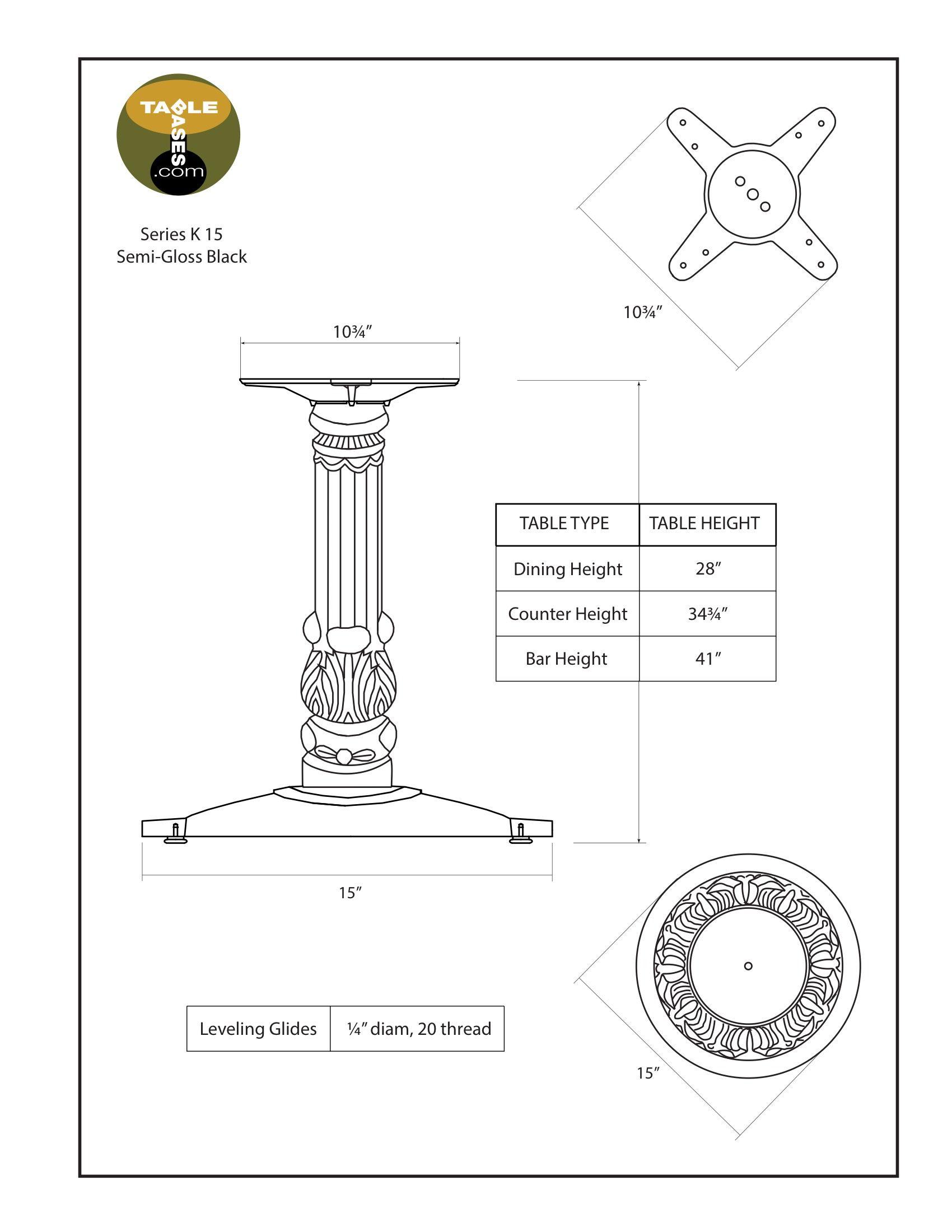 K15 Semi-Gloss Black Table Base - Specifications