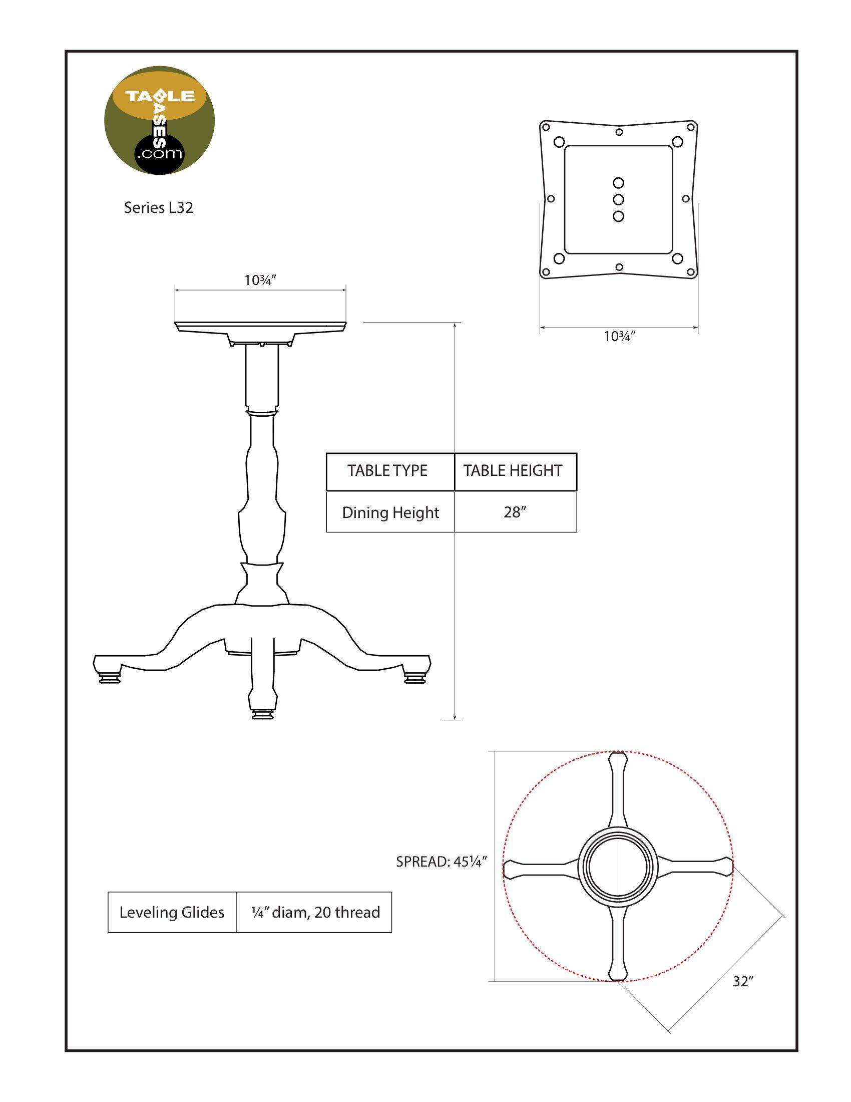L32 Black Table Base - Specs