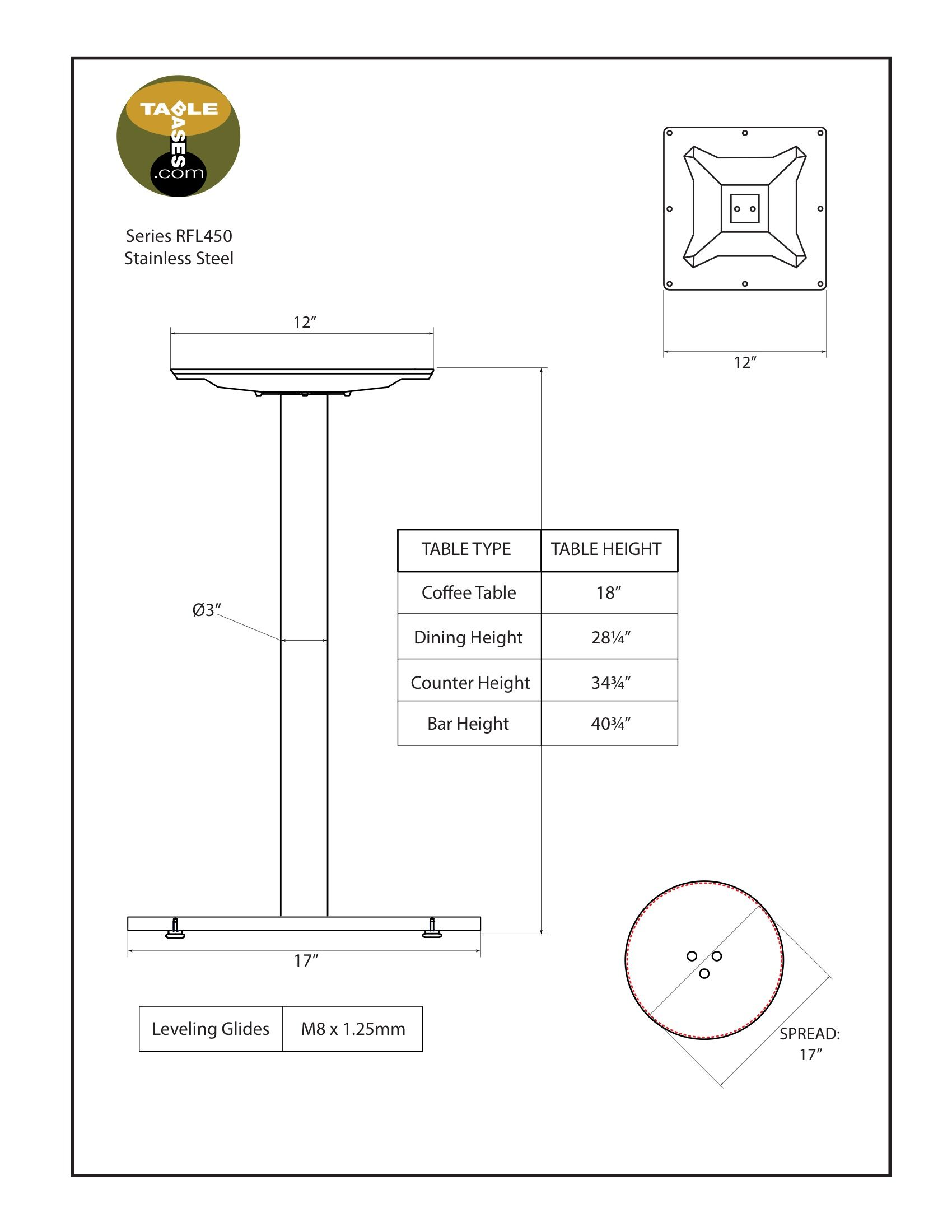 RFL450 Stainless Steel Table Base Specifications