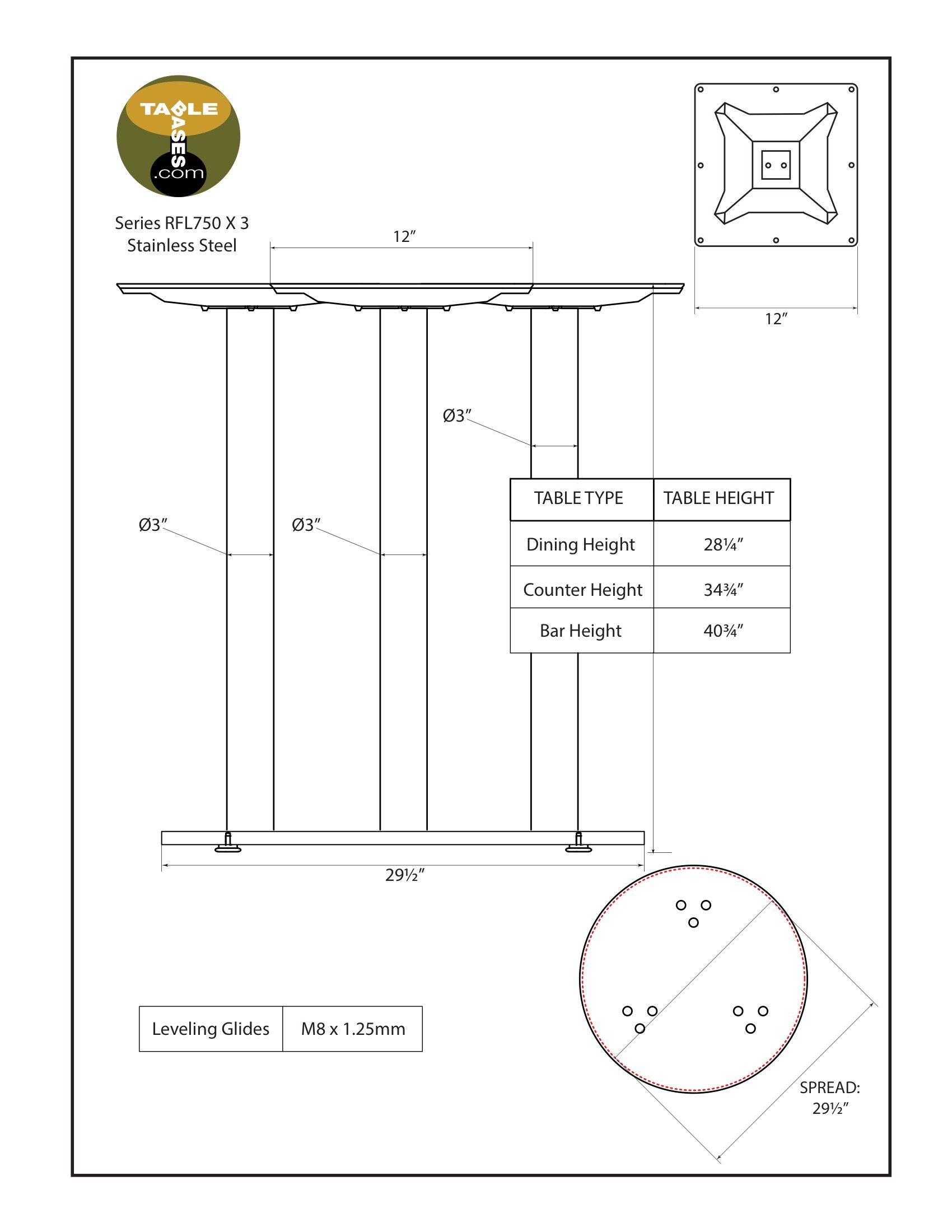 RFL750X3 Stainless Steel Table Base Specifications