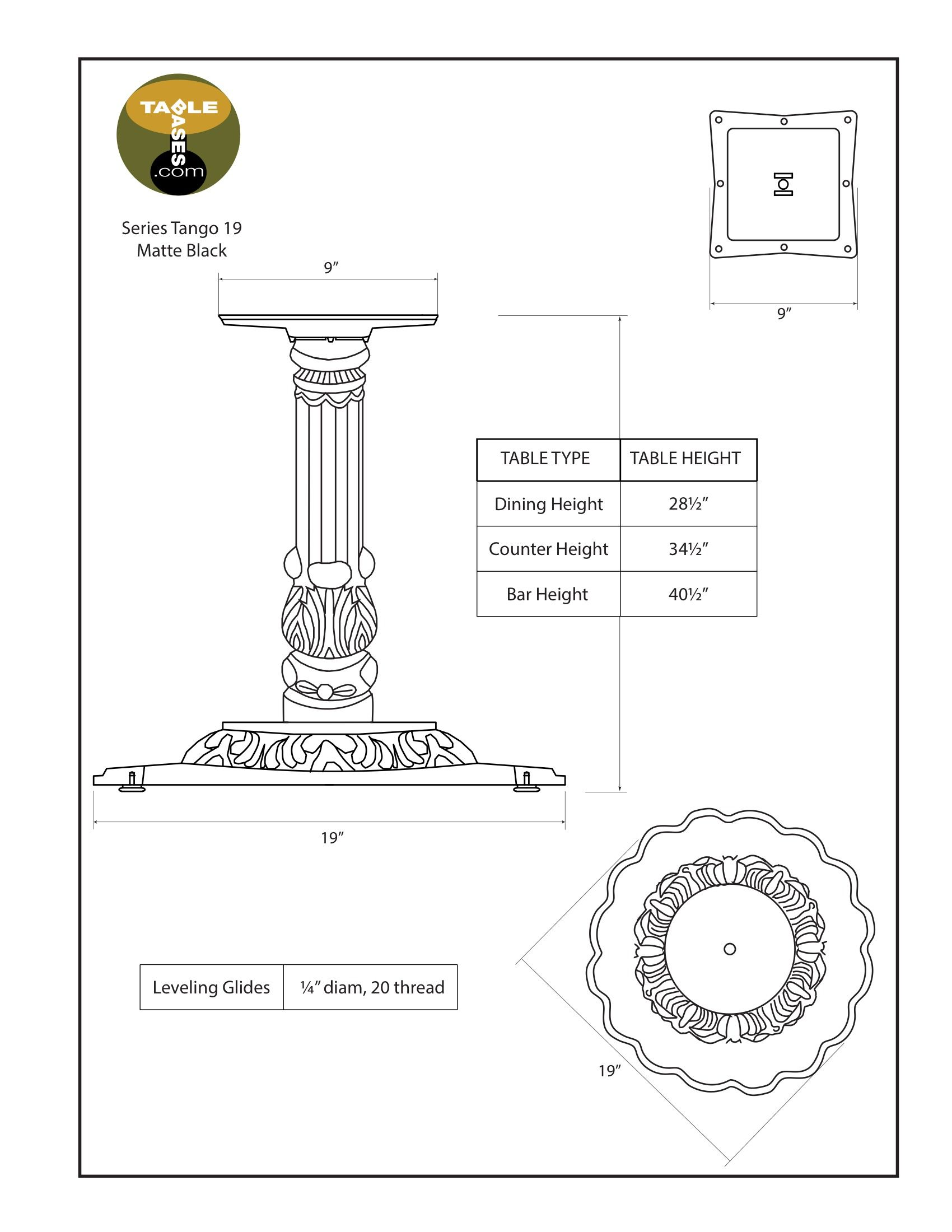 Tango-19 Matte Black Table Base - Specifications