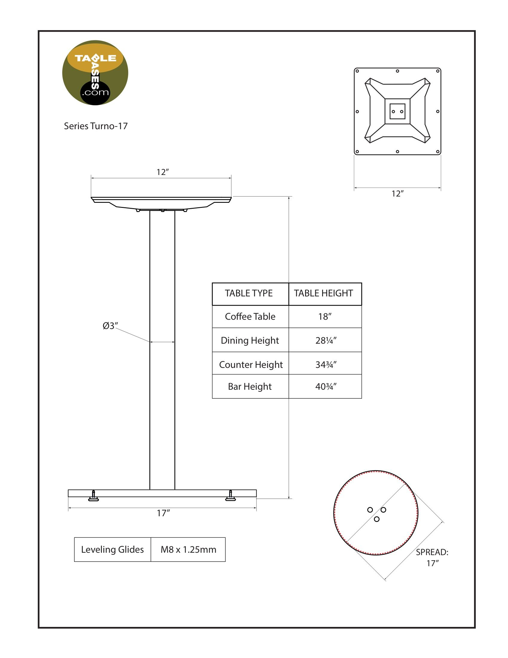 Turno-17 Table Base Specifications