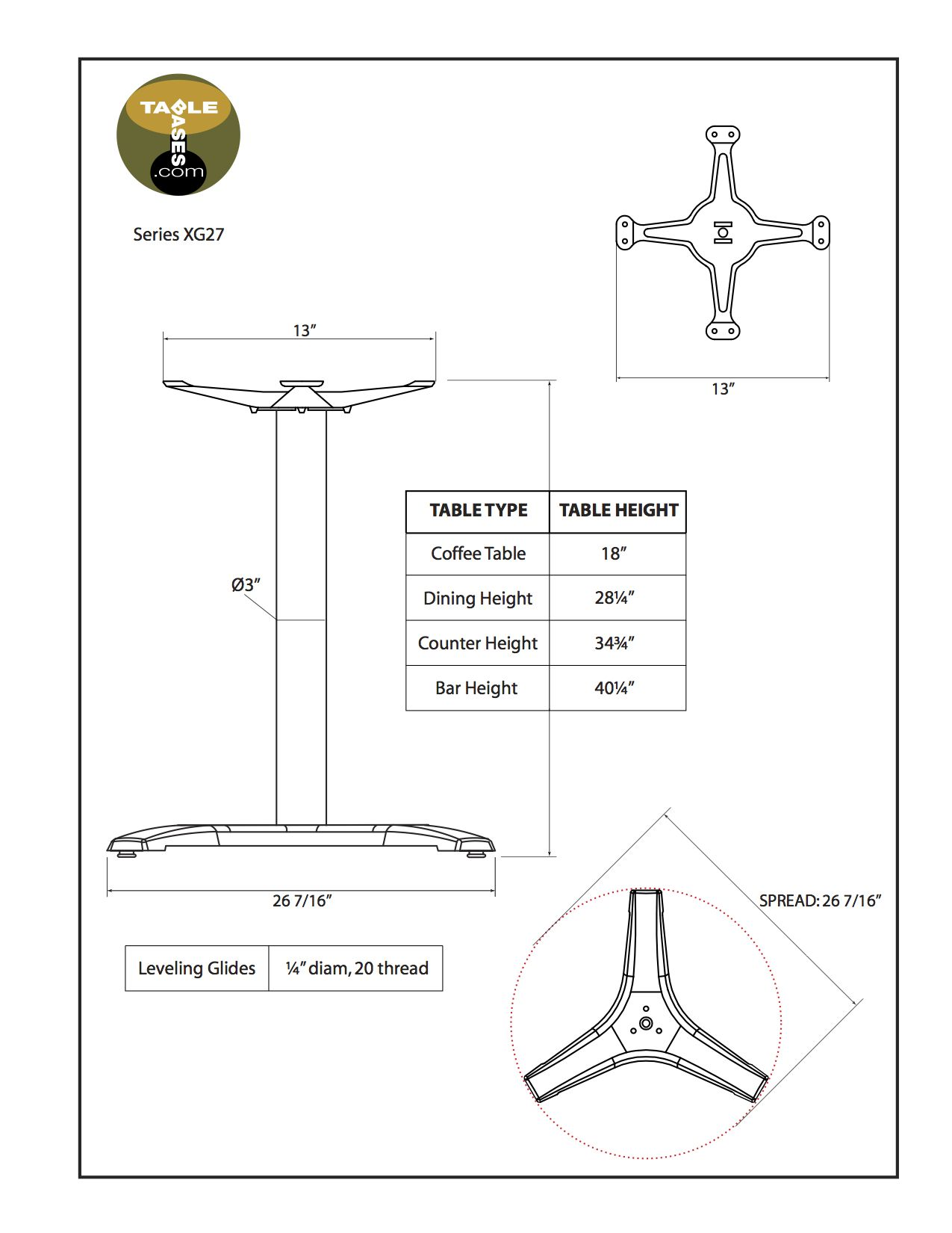 XG27 Black Table Base - Specifications
