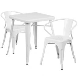 "24"" Square Metal Cafe Table with Two Arm Chairs - White"