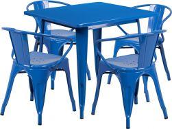 "32"" Square Metal Dining Table Set - Blue"