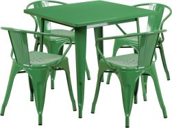 """32"""" Square Metal Dining Table Set - Green"""