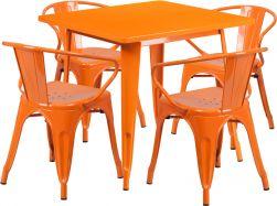 """32"""" Square Metal Dining Table Set - Orange"""