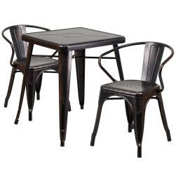 "24"" Square Metal Dining Table Set - Black Antique Gold"