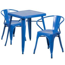 "24"" Square Metal Dining Table Set - Blue"