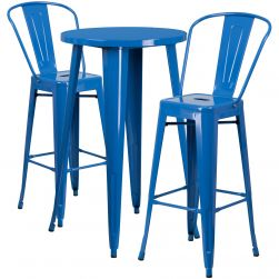 """24"""" Round Metal Bar Table Table Set - Two Chairs - Blue"""