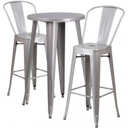 """24"""" Round Metal Bar Table Table Set - Two Chairs - Silver"""
