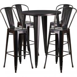 "30"" Round Metal Bar Table Table Set"