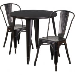 """30"""" Round Metal Dining Table Set - Stack Chairs - Black Antique Gold"""
