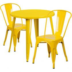 """30"""" Round Metal Dining Table Set - Stack Chairs - Yellow"""