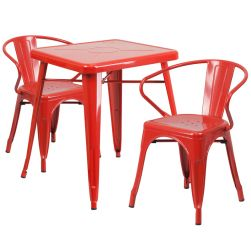 """24"""" Square Metal Dining Table Set - Red"""
