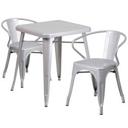 """24"""" Square Metal Dining Table Set - Silver"""
