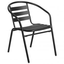 Steel Indoor & Outdoor Slat Back Chair - Black