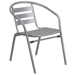 Steel Indoor & Outdoor Slat Back Chair - Silver