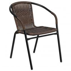 Steel Indoor & Outdoor Rattan Chair - Brown