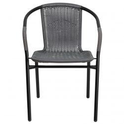 Steel Indoor & Outdoor Rattan Chair - Grey