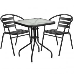 """24"""" Square Glass Patio Table"""