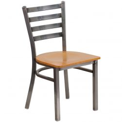 Ladder Back Metal Restaurant Chair - Clear Frame - Natural Wood Seat