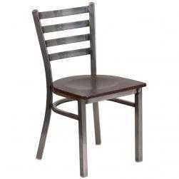 Ladder Back Metal Restaurant Chair - Clear Coat Frame - Walnut Wood Seat