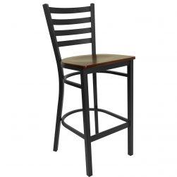 Ladder Back Metal Restaurant Bar Stool - Black Frame - Mahogany Wood Seat