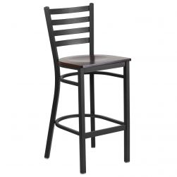 Ladder Back Metal Restaurant Bar Stool - Black Frame - Walnut Wood Seat