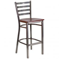 adder Back Metal Restaurant Bar Stool - Clear Coat Frame