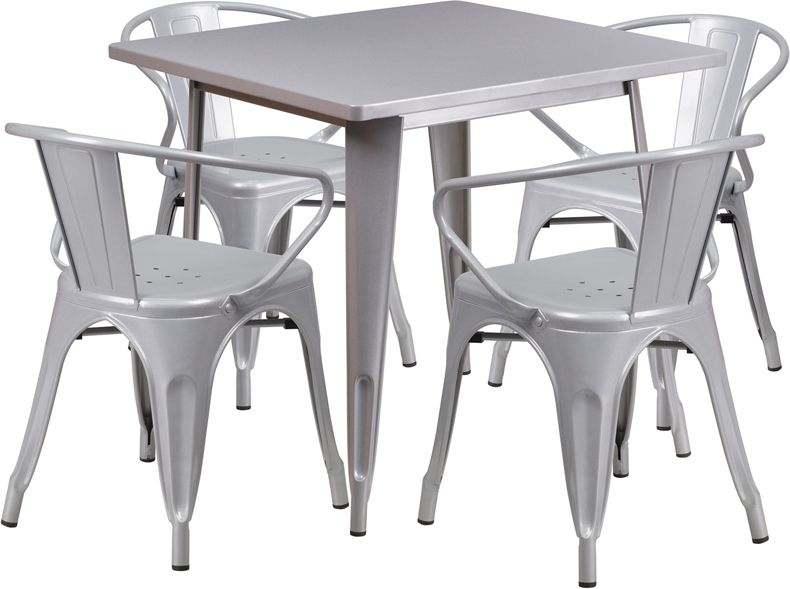 "32"" Square Metal Dining Table Set"