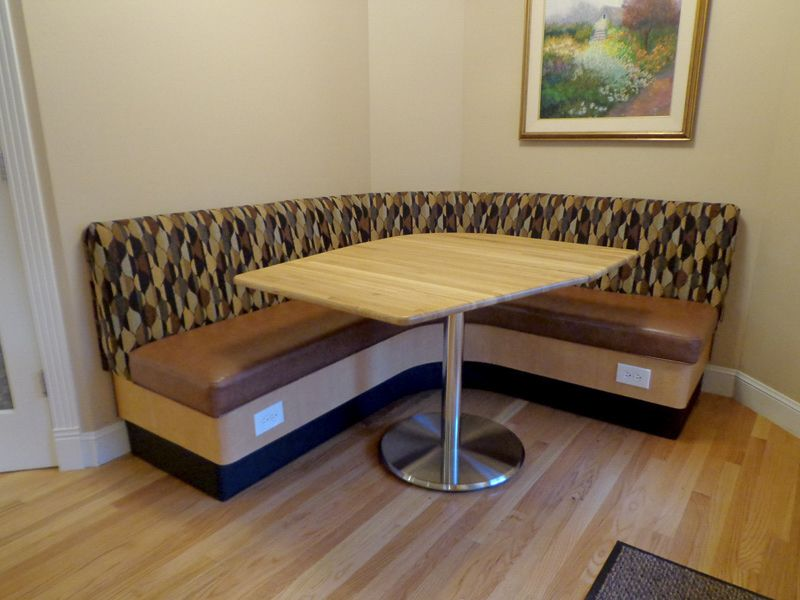 Argent Series Table Base in Custom Banquette