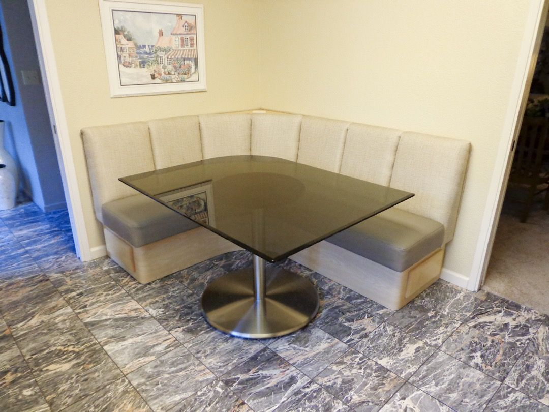 Argent Satin Chrome Table Base in Custom Banquette