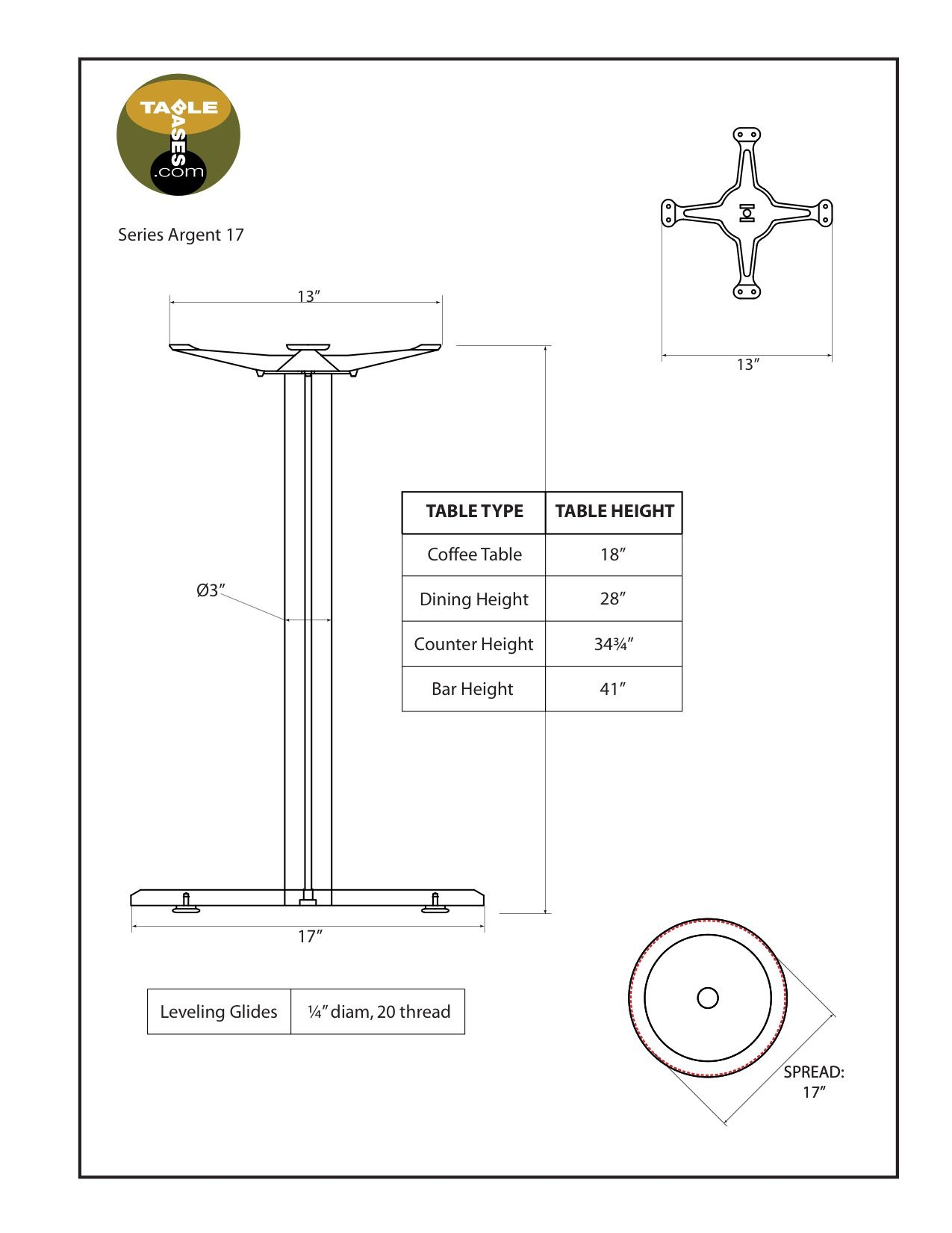 Argent-17 Satin Table Base - Specifications