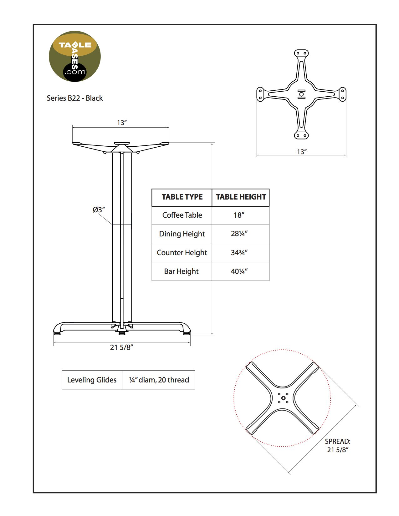 B22 Black Table Base - Specifications