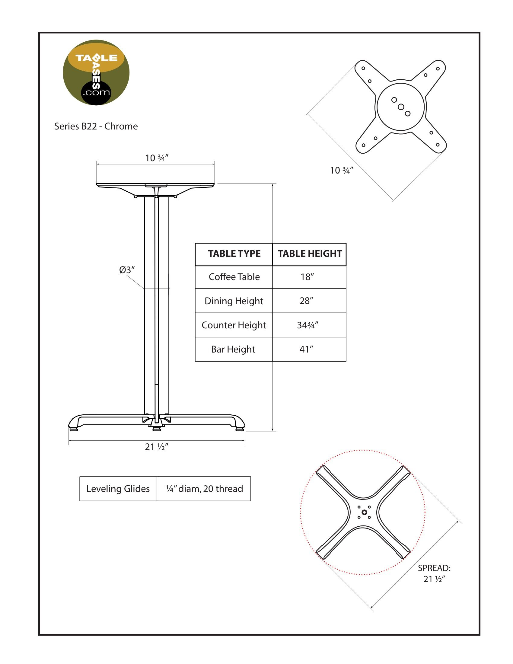 B22 Chrome Table Base - Specifications