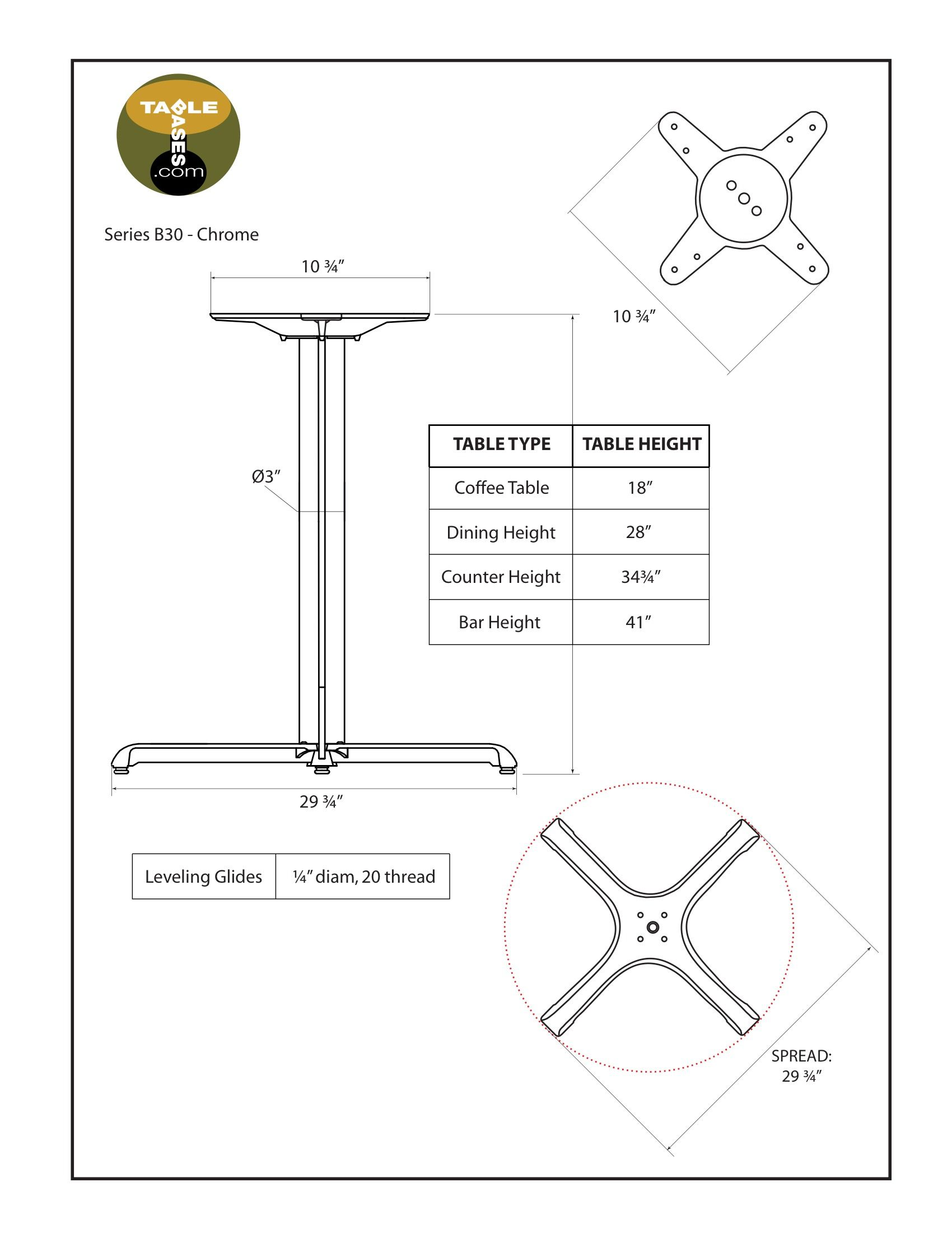 B30 Chrome Table Base - Specifications