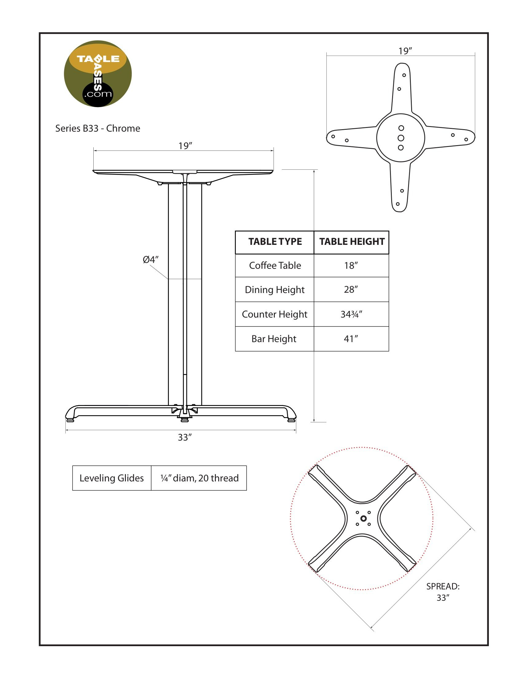 B33 Chrome Table Base - Specifications