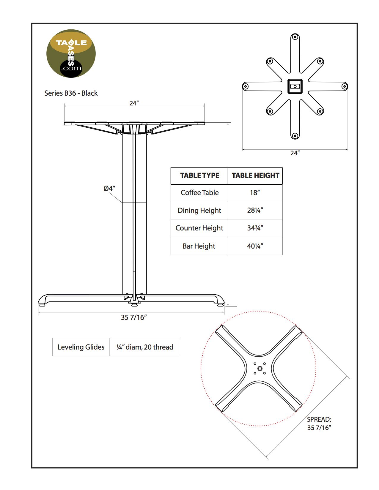 B36 Black Table Base - Specifications