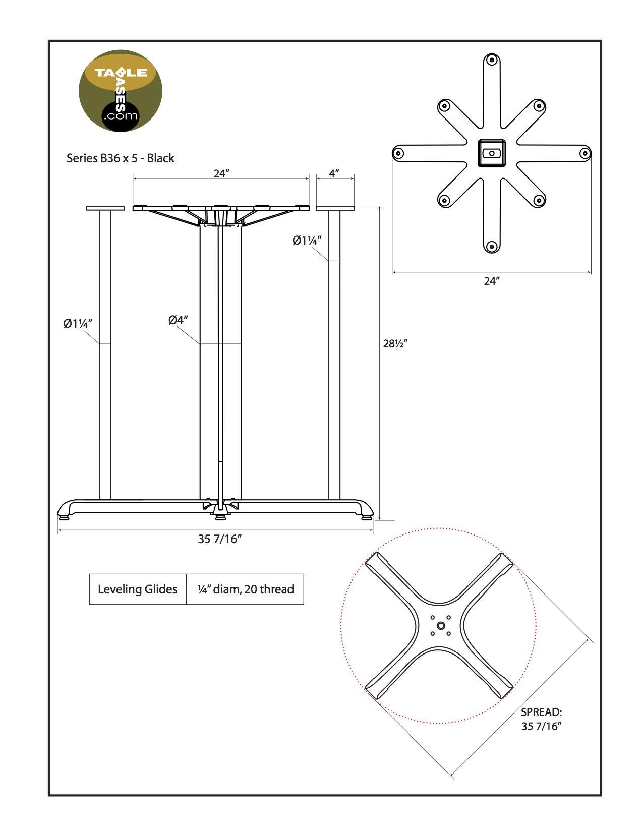 B36X5 Black Table Base - Specifications